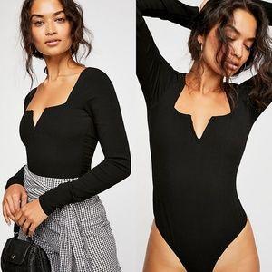 Free People Zoe Black Bodysuit Medium Long Sleeve